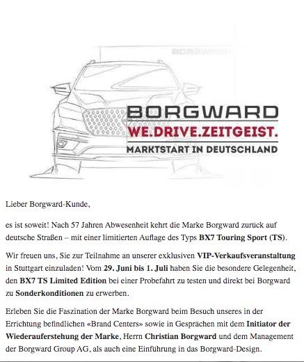 Customer e-mail for Borgward Automotive