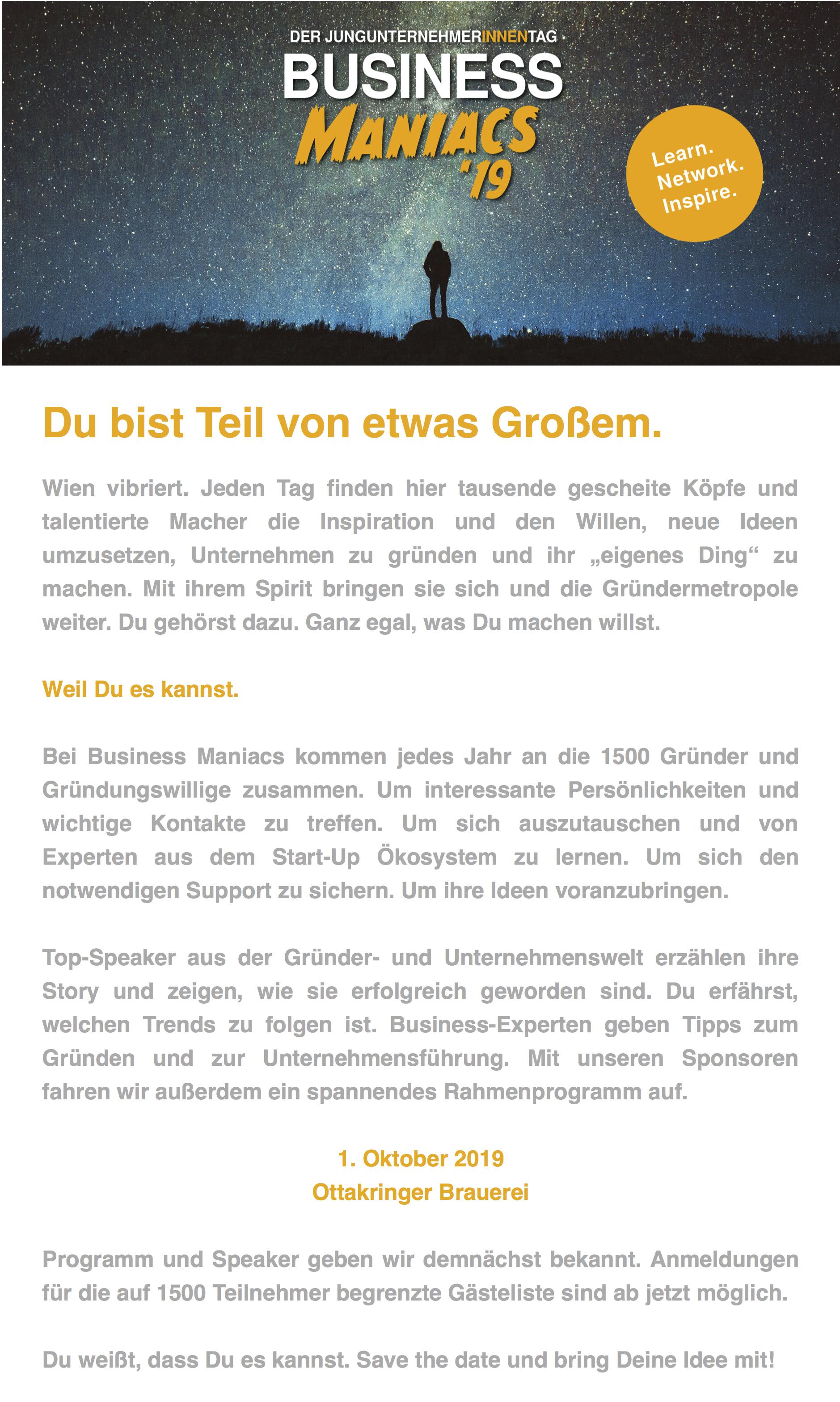 Joe Wiedemann - Newsletter for Austria's biggest founder event
