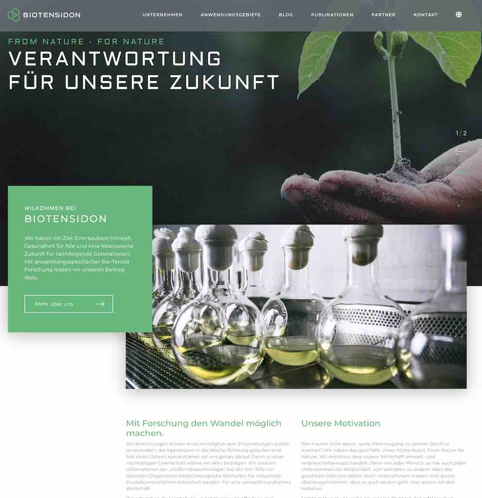 German Content Vienna Berlin image of German language website of GCVB client Biotensidon